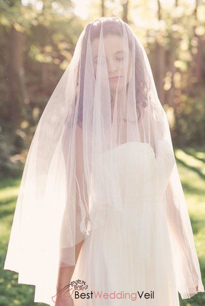 Charming Fingertip Length Tulle Veil For Wedding No Comb