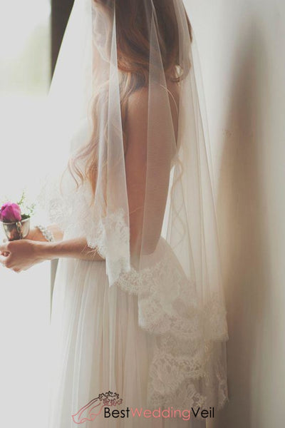 Elegant Lace Trim Ivory Drop Wedding Veil