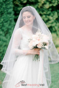 beautiful-blusher-wedding-veils-cheap-double-layers-organza-ribbon-edged