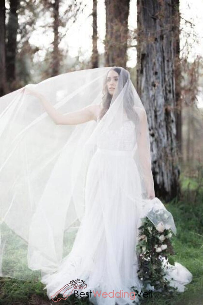 Blusher Sheer Soft Tulle Cathedral Bridal Veil In Ivory ...