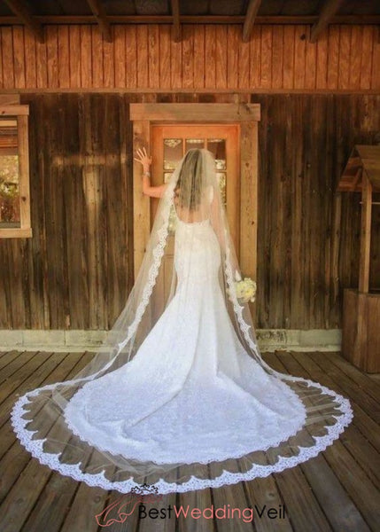 Classic Cathedral Long Wedding Veil With Comb Lace Trim