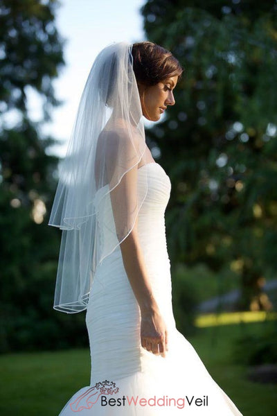 Two Tiers Tulle Bride Ribbon Edge Wedding Veils With Comb Veil