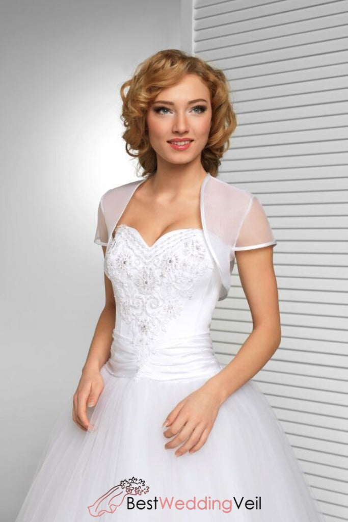 Cap Sleeve Simple White Organza Wedding Jacket Bridal Bolero Shrug