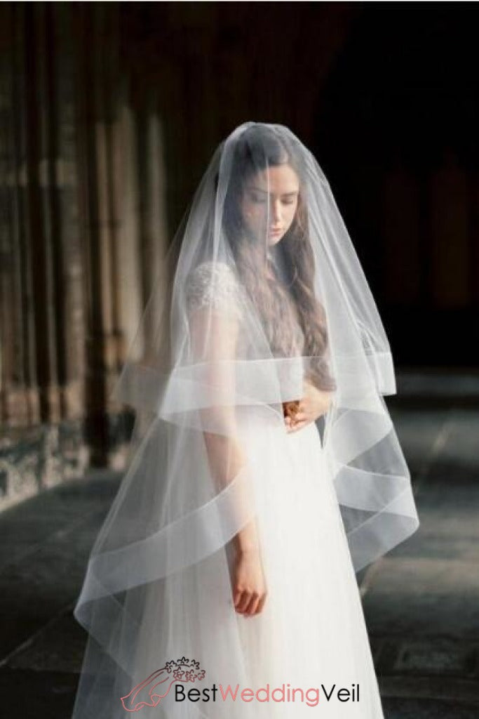 Circle Wedding Veil With Blusher Cathedral Length Drop