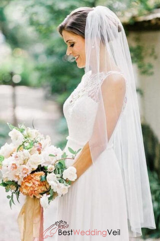 cut-edge-fingertip-length-white-wedding-bridal-veil-styles