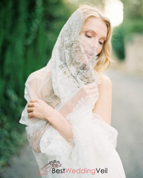 All Round Lace Edged Wedding Veil Cathedral Length