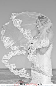 double-layers-lace-appliqued-fingertip-blusher-veils-wedding