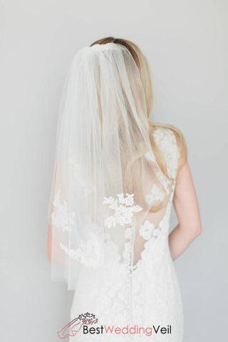 elbow-length-wedding-veil-one-tier-tulle-blusher