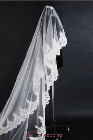 elegant-cathedral-alencon-lace-wedding-veil-single-tier-tulle