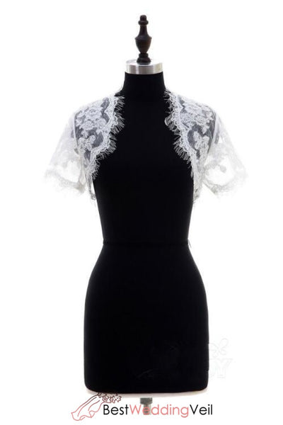 eyelash-lace-trim-jacket-for-brides-short-sleeves
