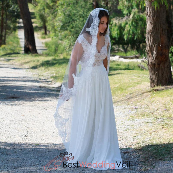 Mantilla Traditional Floor Length White Wedding Veil With Lace Edge