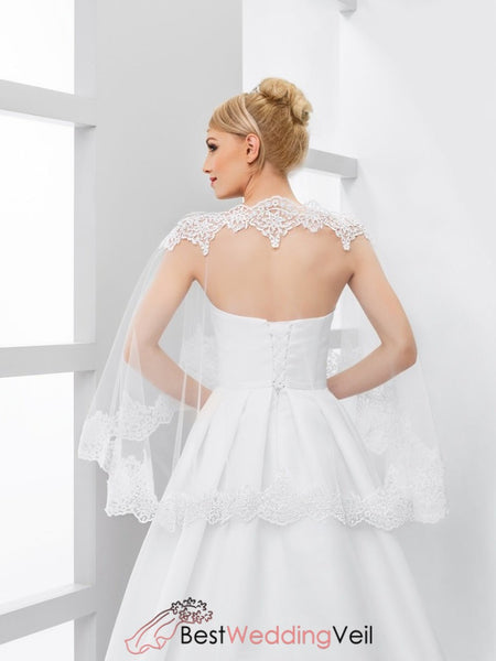 Lace Applique Tulle Bridal Cape Elegant Wedding Shawl Jacket&bolero