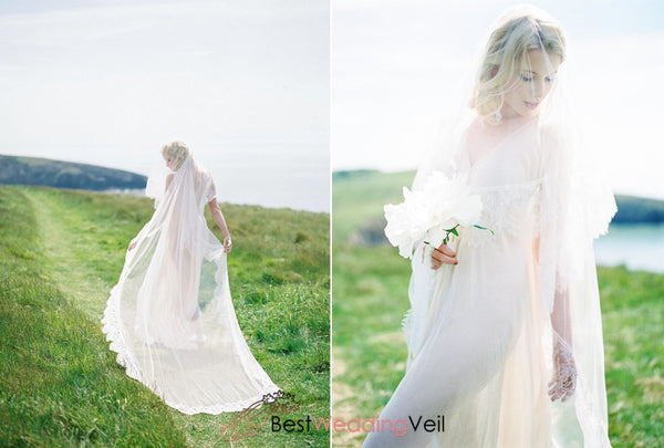 Chantilly Lace Long Ivory Blusher Bridal Veil Wedding