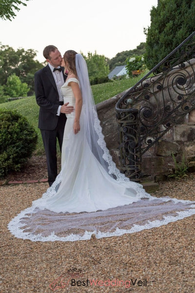 Classic Long Tulle White Wedding Veil With Alencon Lace Edge