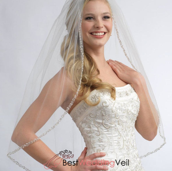1 Layer Fingertip Wedding Veil With Crystals And Sequins