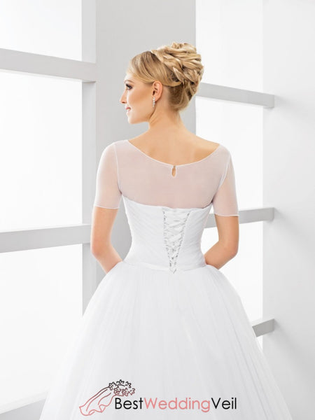 Simple Bridal Jacket Elastic Tulle Illusion Short Sleeves Jacket&bolero