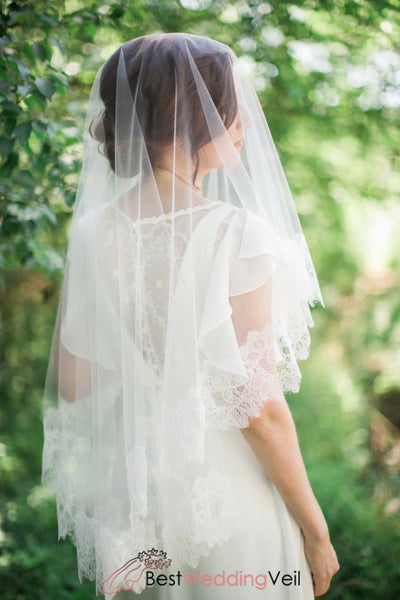 Chantilly Lace Drop Style Veil Wedding With Applique Trim