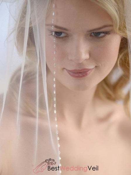 Vintage Beaded Wedding Veil With Comb Scalloped Edge