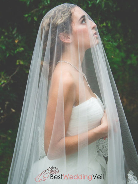 Floral Soft Tulle Lace Applique Long Wedding Veil Online