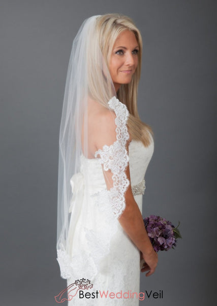 Elegant Appliqued Lace Short Wedding Veil Single Tier Tulle