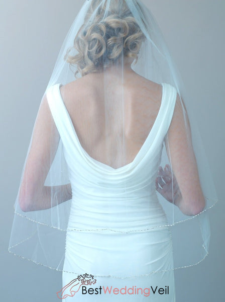 2 Layers Beaded Wedding Veil With Blusher Fingertip