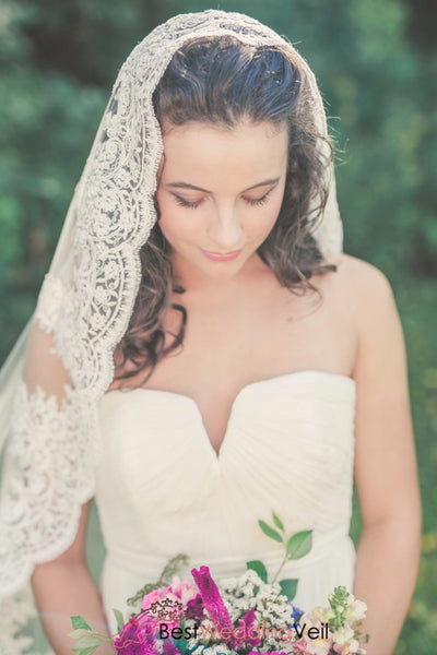 Chapel Length Mantilla Lace Wedding Veil One Tier Tulle With Applique Edge