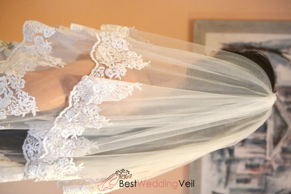 Inexpensive Complete Wedding Veils Elbow Lace Trim Veil