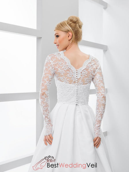 White Long Sleeved Lace Bridal Jacket V-Neck Wedding Cover Up Jacket&bolero