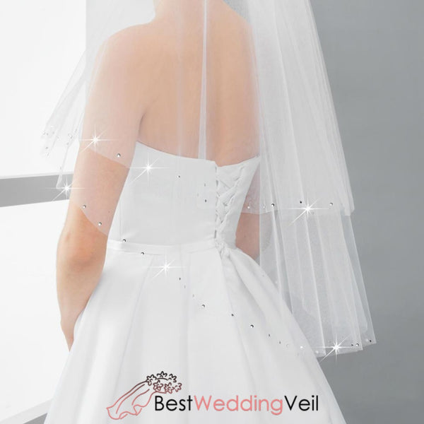Beaded Wedding Veils With Comb Two Layers Tulle Cut Edge Veil