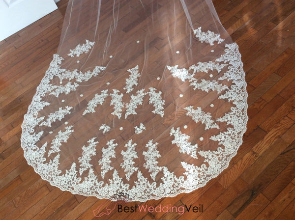 Applique Lace Over Tulle Wedding Veils With Comb Attached Veil