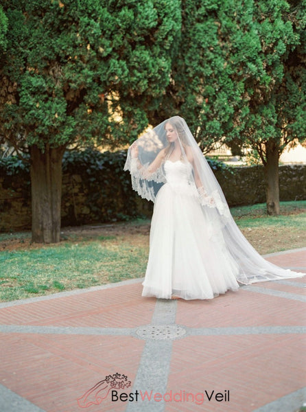 Cathedral Blusher Bridal Veils With Chantilly Lace Trim To Soft Tulle Wedding Veil
