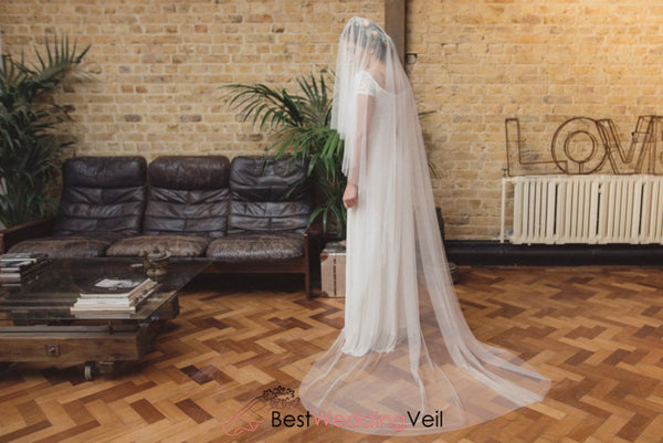 Simple Single Layer Tulle Long Wedding Bridal Veils Custom Made Veil