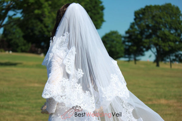 White Cathedral Wedding Veils Two Tiers Tulle Custom Made Wide Lace Applique Edge Veil