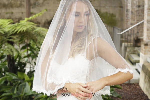 Drop Style Soft Blusher Wedding Veil With Alencon French Lace Trim