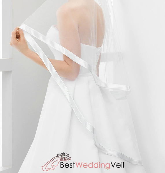 Satin Ribbon Edge Fingertip Wedding Veils Two Layers Tulle Veil