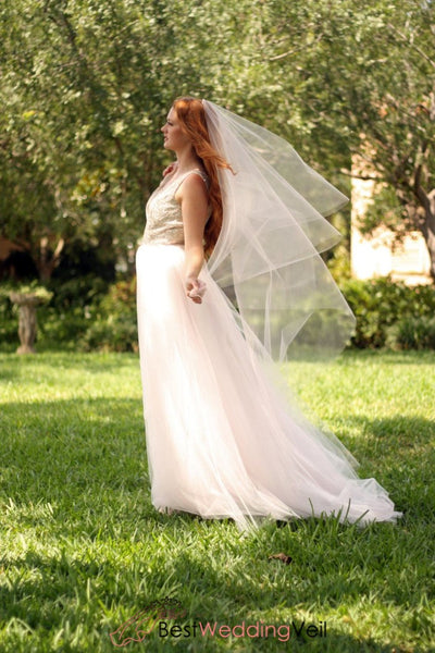 Drop Style Waltz Length Tulle 2 Tiers Wedding Veil With Blusher
