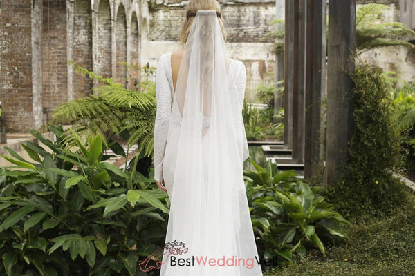 One Tier Drapey Flowy Simple Wedding Veil Raw Edge