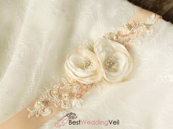 Peach Nude Blush Bridal Sash Rhinestones Floral Rustic Belt Belts & Sashes