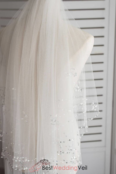 Sequins And Beaded Trim Ivory Wedding Veil With Crystals