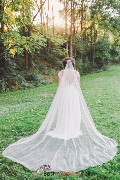 Soft Tulle Long Boho Wedding Veil With Comb