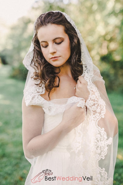 Mantilla Cathedral Length Wedding Veil With Lace Edge