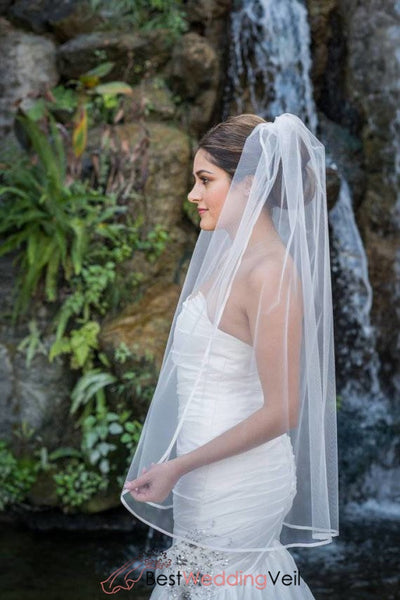 1T Layer Fingertip Length Wedding Veil With Satin Trim Edge