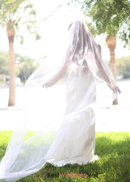 Popular Simple Plain Long Veil Wedding Cathedral Length