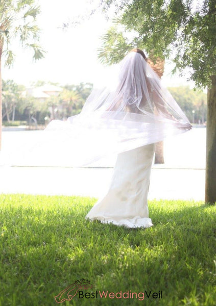 Classic Single Layer Tulle Long Veil For Wedding