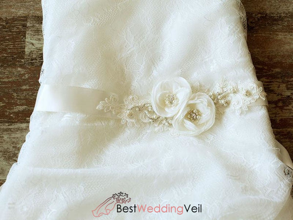 Ivory Wedding Belt Lace Applique Floral Bridal Sash With Pealrs Belts & Sashes