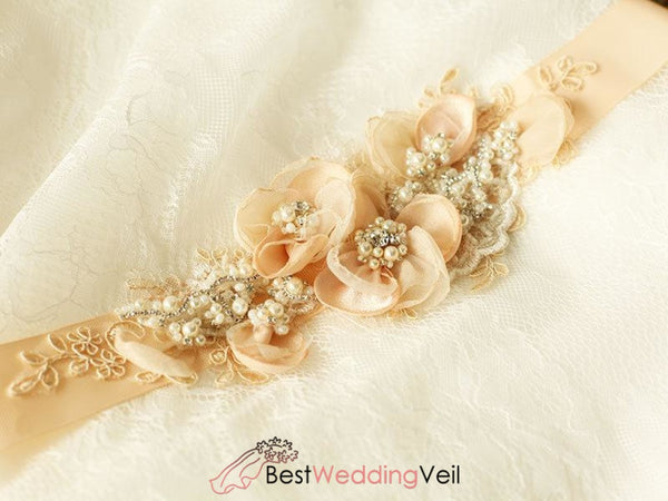 Peach Nude Blush Bridal Sash Floral Lace Rustic Wedding Belt Belts & Sashes
