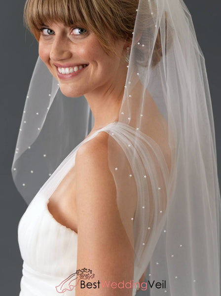 Pearls Scattered Edge Wedding Veil Tulle Bridal Accessory