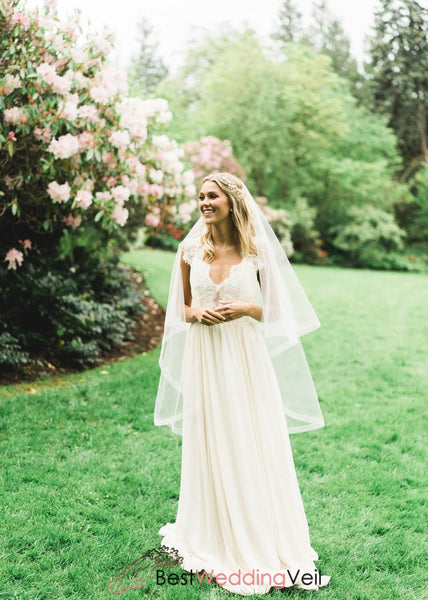 Double Layer Fingertip Wedding Veil With Blusher Circular