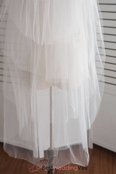Four Tiered Wedding Veils Fingertip Puffy Tulle Princess Veil With Comb