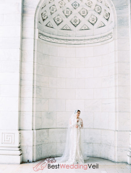 Beautiful Lace Church Wedding Dress Veil Cathedral
